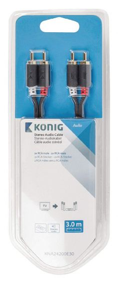 Konig stereo audio cable 2 x RCA male - 2 x RCA male 3m
