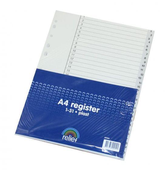 Relief A4 Register 1-31 grå