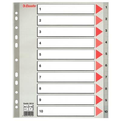 Esselte Register Maxi 1-10 grå plast