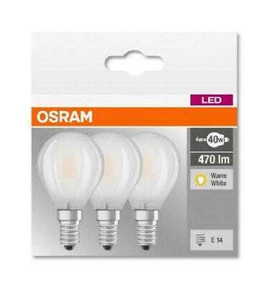 Osram LED base classic p 40 pære E14 470lm 4w warm white 3pk