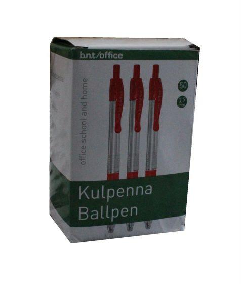 B.N.T/ Office kuglepenne 0.7mm pk á 50 stk rød