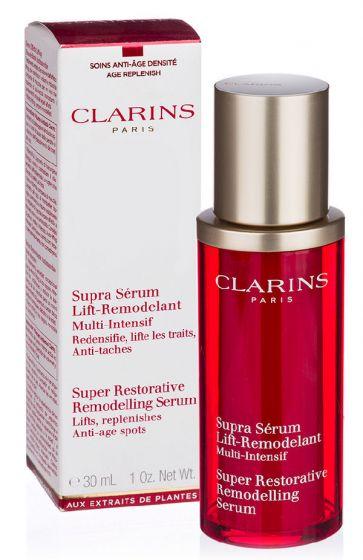 Clarins paris super restorative remodelling serum lifts replenishes anti-age spots 30ml