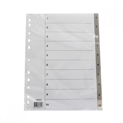 Mylar register A4 1-10 plast grå