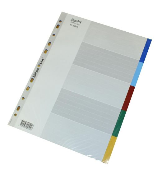 Bantex A4 Register 5 faner i farver