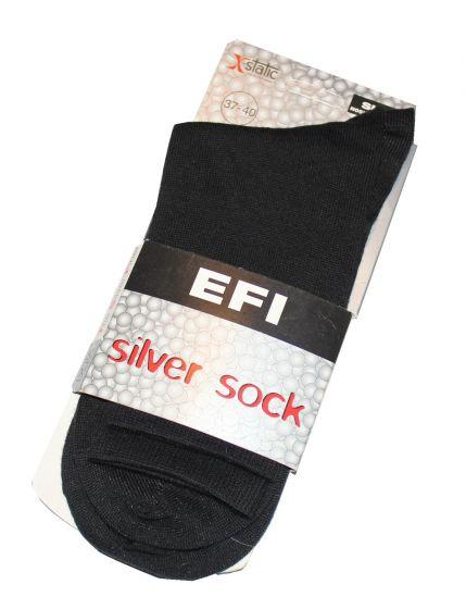 EFI silver sock i Sort Str. 37-40