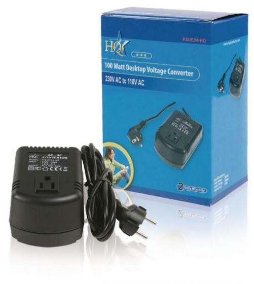 HQ 100 watt desktop voltage converter 230V AC to 110V AC