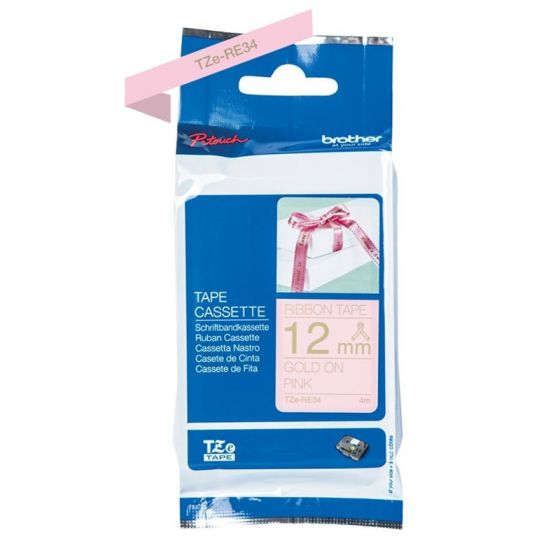 Brother TZe-RE34 ribbon tape 12mm gold on pink 4m