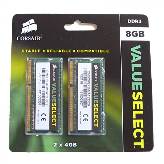 Corsair DDR3  8 GB : 2 x 4 GB SO DIMM 204-pin 1333 MHz
