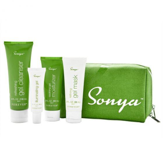 Forever living sonya daily skincare - kosmetiktaske med 4 produkter