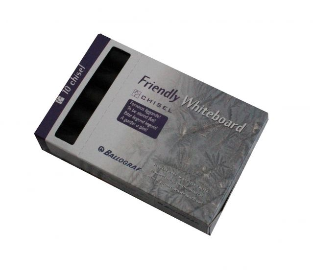 Friendly whiteboard penne chisel pk a 10 stk sort