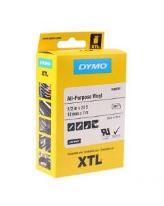 Dymo XTL all purpose vinyl sort på gul 12mm x 7m