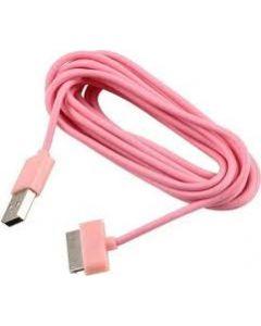 Ladekabel til Iphone 3 og 4 3m lyserød