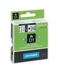 Dymo D1-tape 45013 12mm x 7m sort på hvid