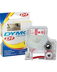 Dymo D1 45015 Tape 12mm x 7m rød på hvid
