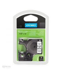 Dymo D1-tape 16959 12mm x 5,5m sort på hvid