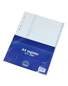 Relief A4 Register A-Å grå