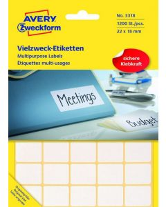 Avery zweckform multipurpose labels no. 3318 1200pcs 22x18mm