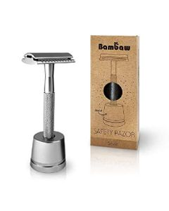 Bambaw safety razor silver med stand
