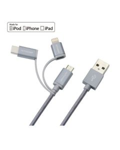 Case mobile case IS 9001 3 in 1 kabel grey