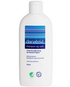 Danatekt shampoo og vask til tør hovedbund og tør hud på kroppen 250ml