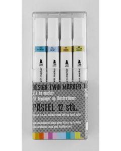 Design twin marker 2-i-1 marker til tegning og illustration pastel 12 stk.