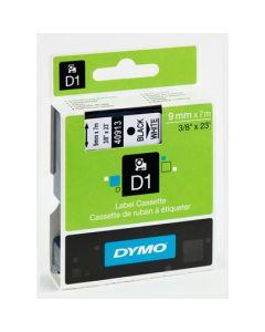 Dymo D1 40913 9mm x 7m sort på hvid