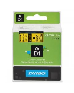 Dymo D1 53718 24mm x 7m sort på gul