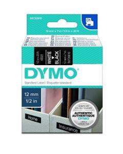 Dymo D1-tape S0720610 / 45021 12mm x 7m hvid på sort