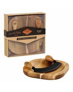 Gentlemen's hardware herb chopper & board acacia wood no. 155