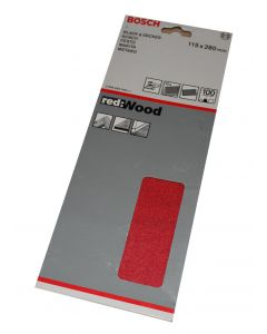 Bosch slibeark 115x280 korn 100 10 ark red wood