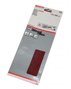 Bosch slibeark 115x280 korn 40 10 ark red wood