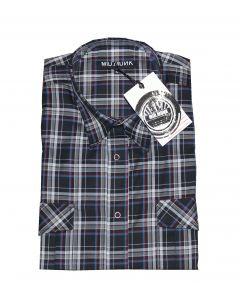 Mid. Munk skjorte model break sort ternet str. L langærmet