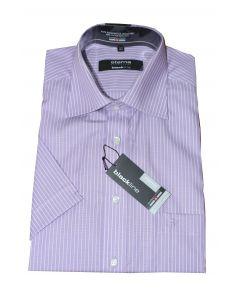 Eterna skjorte blackline kortærmet lilla/hvid stribet str 40