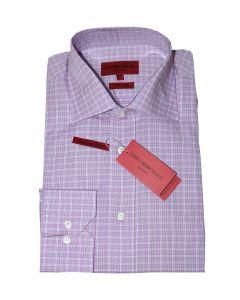 Gino Marcello skjorte langærmet lilla ternet str. M 39/40