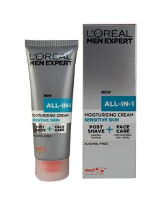 L'oréal all-in-1 moisturising cream sensitive skin post shave + face care 75ml
