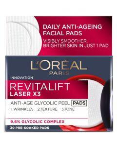 L'oréal paris innovation revitalift laser anti-age glycolic peel pads 30 stk.