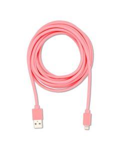 Ladekabel til iphone 3m lyserød