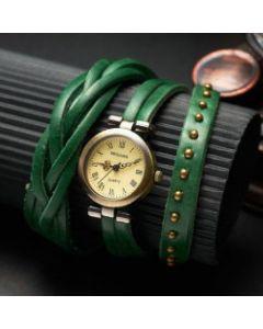 Miguan ur med grøn læderrem