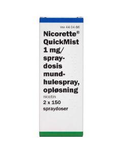 Nicorette quickmist 1mg/spray dosis mundhulespray opløsning nicotin 2x150