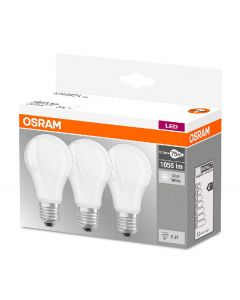 Osram LED base classic a 75 pære E27 1055lm 10,5w cool white 3pk