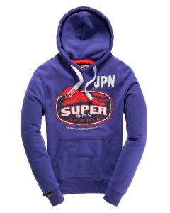 Superdry Hoodie Lion Gas (ms2hx099) i Blå Str. Small