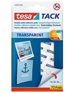 Tesa tack dobbeltklæbende brikker transparent 72 pads