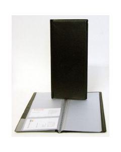 Visitkortmappe med 96 lommer sort