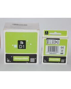 Compatible Dymo D1-tape 12mm x 7m sort på hvid 5pk