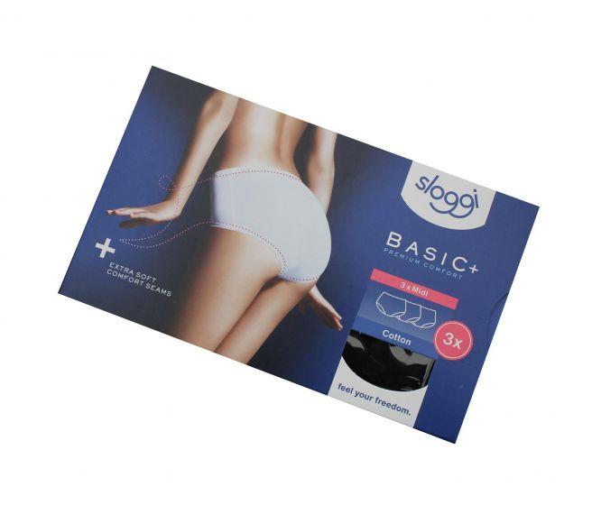 Sloggi basic+ midi premium comfort sorte 3pk str 44