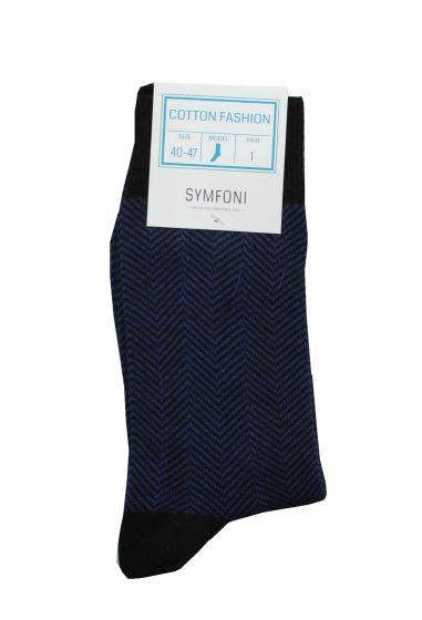 Symfoni sokker i Blå/Sort/Zig-ZagStribet Str. 40-47