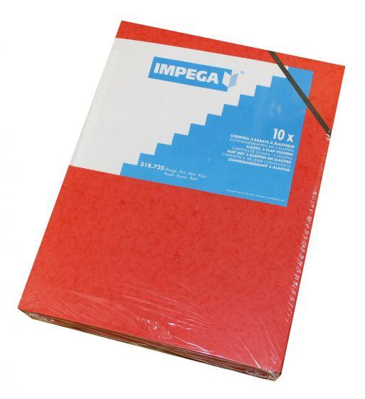 Elastikmapper pap Impega A4 pk. á 10 stk røde