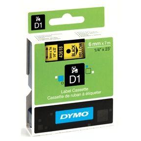 Dymo D1 43618 6mm x 7m sort på gul